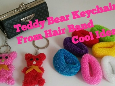 Teddy Bear Keychain from Hair Band | Best out of waste.cool craft idea #hairbanddollmaking