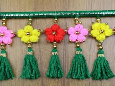 Woolen Craft ideas - How to Make Beautiful Door Hanging Toran || Woolen Design - Best out of waste