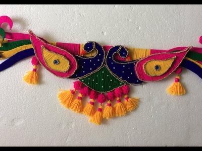 Beautiful Peacock Door Toran Making With Wool | Woolen Craft Idea | DIY