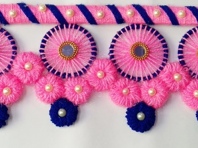 BEST OUT OF WASTE BANGELS AND WOOL CRAFT IDEA.DIY THREAD TORAN. DOOR HANGING DECORATION.oon ki toran
