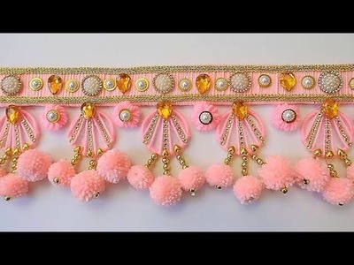 BEST OUT OF WOOL AND WASTE BANGELS CRAFT IDEA.DIY THREAD TORAN. DOOR HANGING DECORATION.oon ki toran
