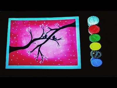 Birds on the tree with art and craft techno
