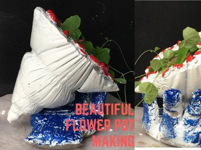 CEMENT CRAFT IDEAS ❤️❤️-  Making cement flower pot at home with cement and gloves