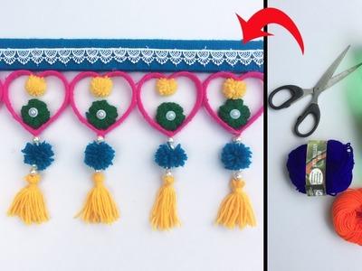 DIY easy door hanging | Woolen door hanging | Wall hanging craft | Toran making | Hand Embroidery