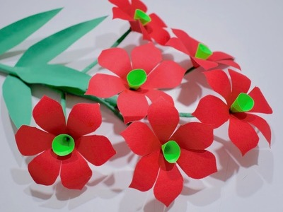 DIY Paper flower decoration idea | How to make simple flowers stick craft