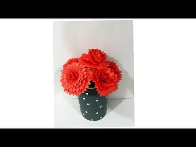 DIY Tin craft.How to make a beautiful flower vase with tin.Craft with waste material