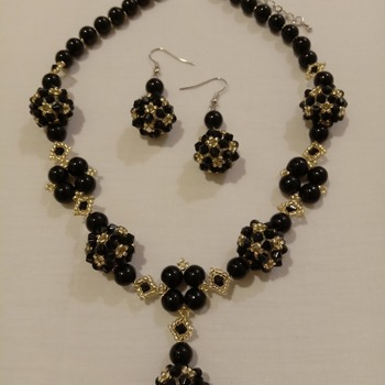 Handmade Black Pearl Golden Necklace Earrings Set