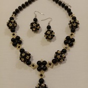 Handmade Black Pearl Golden Necklace Earrings Set