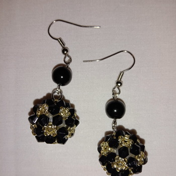 Handmade Black Pearl Golden Earrings