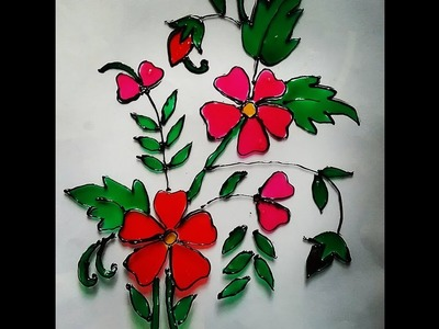 How to make glass painting, easy summer craft ideas for kids and beginners.
