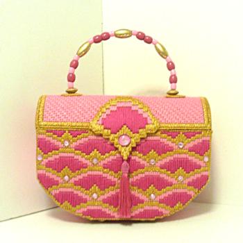 Pink & gold Jeweled Bargello Trunk Handbag/Purse