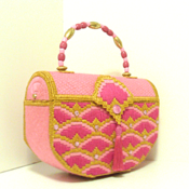 Pink & gold Jeweled Bargello Trunk Handbag/Purse