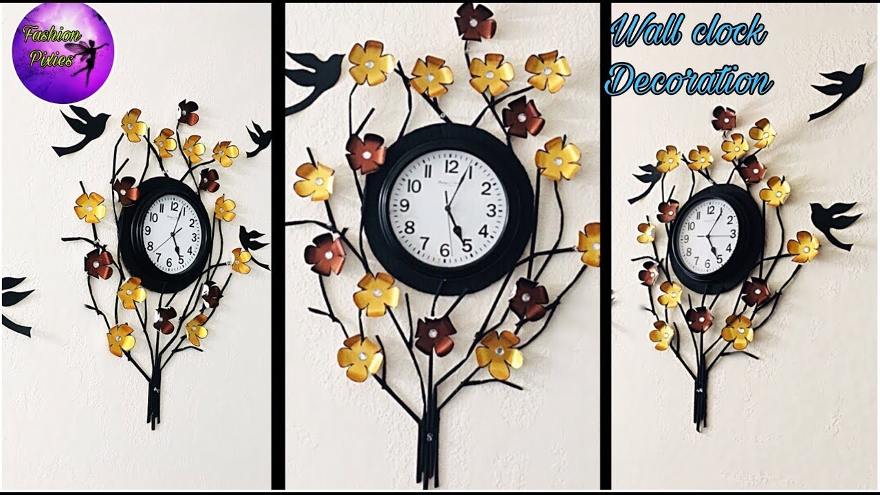 Wall clock decoration. diy wall hanging. fashion pixies. craft. paper craft.paper flowers