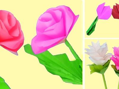 3 Pretty Paper Flowers !!! DIY Flower ideas   Paper Flowers