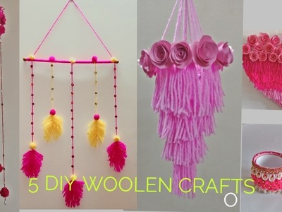 5 EADY DIY CRAFTS WITH WOOL.YARN | HANDMADE HOME DECORS WITH YARN