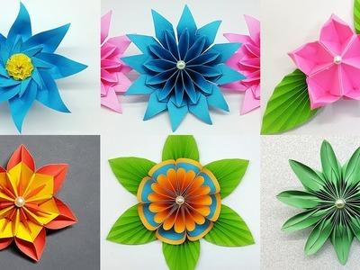 6 Easy Paper Flowers Making Tutorial | DIY Flower Crafts