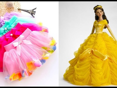 Awesome Glamorous party gown for Barbie,DIY Fast and easy Barbie Skirt Tutorial