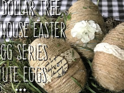 DIY Dollar Tree Farmhouse Easter Egg Series-Jute Eggs