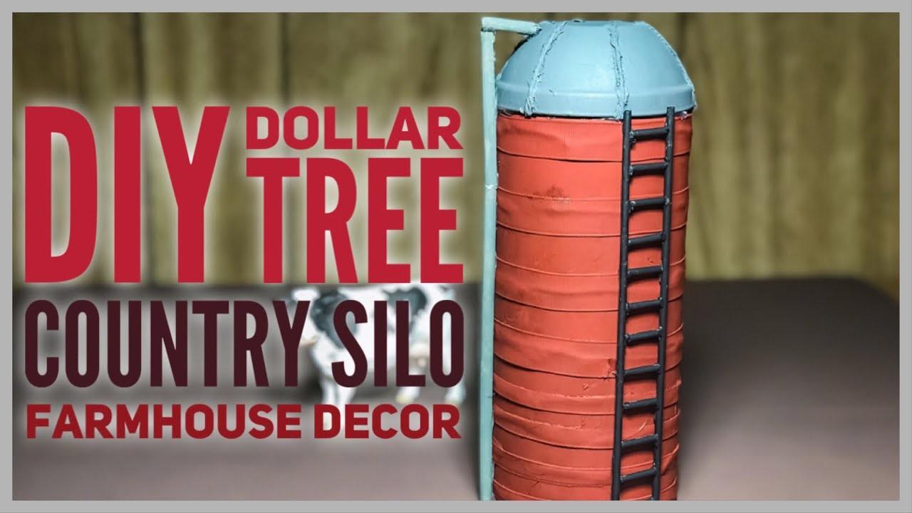 DIY Dollar Tree Farmhouse Silo - Farmhouse Rustic Country Style Feed Silo Room Decor