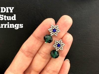 DIY Simple Stud Earrings. Super easy Tutorial. How to make beaded earrings