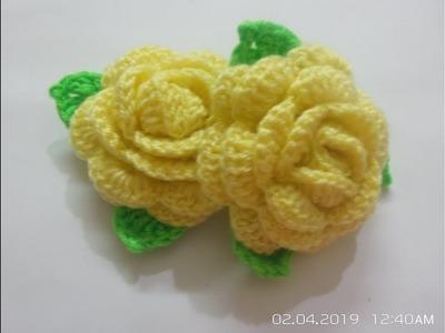DIY Tutorial:Crochet Rose Flower| How to crochet Rose flower