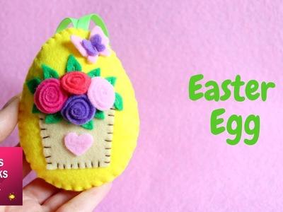 Floral Design Felt Easter Egg Ornament DIY Tutorial | #6 Easter Egg.