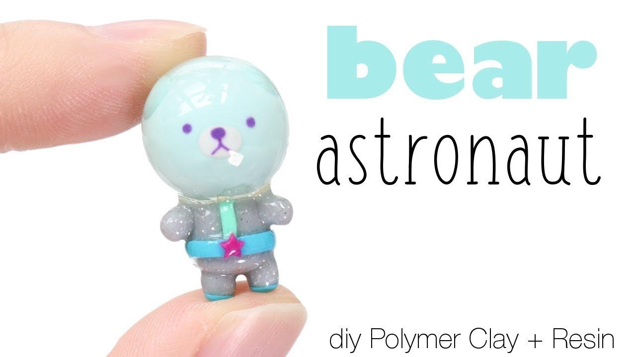 How to DIY Astronaut Bear Polymer Clay.Resin Tutorial