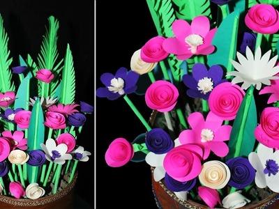 Paper flower bouquet Tutorial    flower bouquet arrangement    home decorating ideas   DIY crafts