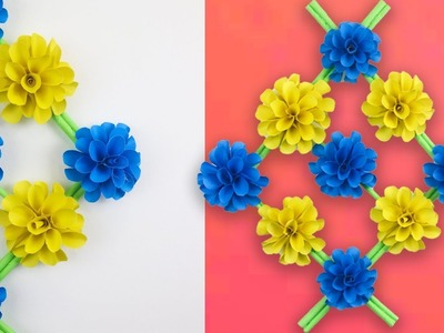 Paper Flower Wall Hanging | DIY Wall Flower Decoration | Easy Paper Flower Wall Hanging