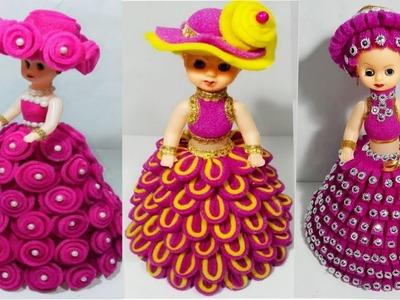 फोम से गुड़िया सजाने के 3 आसान तरीके.DIY 3 DOLL DECORATION. FOAM KI GUDIYA.FOAM SE DOLL SAJAYE