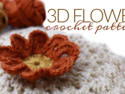 CROCHET 3D FLOWER TUTORIAL | Flower Crochet Pattern | Diagram and Written Pattern