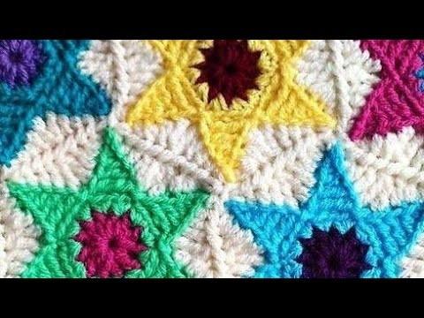 CROCHET:How to make a crochet  Star Hexagon. join Star motif