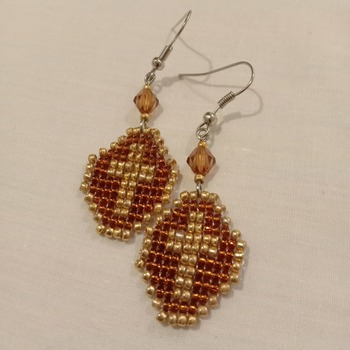 Handmade Beaded Octagon Cross Earrings