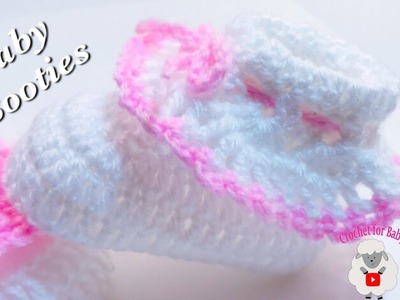 How to crochet cuffed baby booties for beginners NB, 0-3M & 3-6M size by Crochet for Baby #184