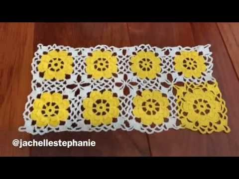 HOW TO CROCHET FLOWER GRANNY SQUARE AND JOIN AS YOU GO (PATTERN 856)