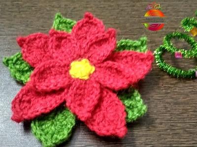 How to crochet Poinsettia for Christmas!!! #christmas #poinsettia #xmasdecor