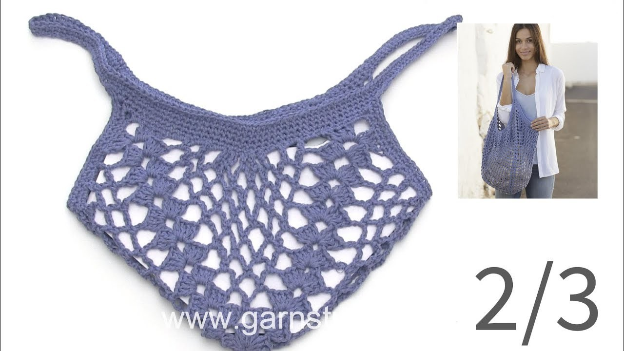 How to crochet the edge to the bag in DROPS 199-15