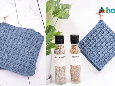 How to Crochet Waffle Stitch Potholders