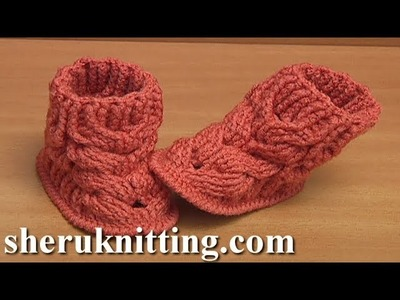 How to Make Crochet Cable Baby Boots Tutorial 58 Part 3 of 4  Wie man häkelt kabel babyschuhe