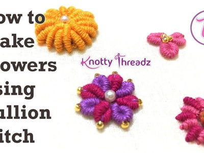 How to make Flowers Using Bullion Stitch | Embroidery using Normal Needle on Stitched Blouse