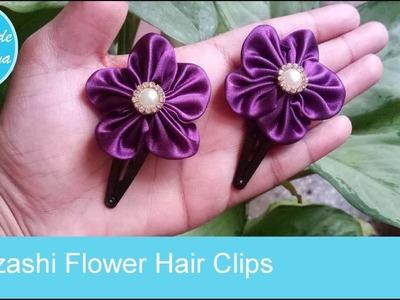 Kanzashi Flower Hair Clips || DIY Hair Clips
