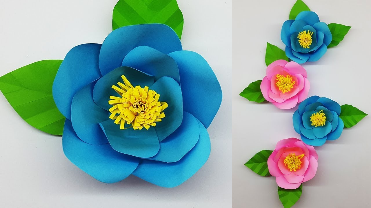 Paper Flower Camellia Making with Template | DIY Paper Flowers for Wall Decorations