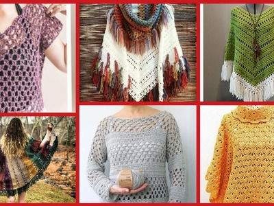 Top 50+ beautiful crochet summer ponchu and crochet shirts free Patterns