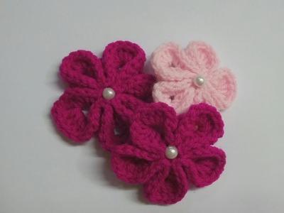 Tutorial:How to Crochet Kanzashi Flower | Crochet Flower