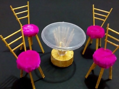 DIY Miniature Dining table chairs Set | How to make miniature furniture for School Project