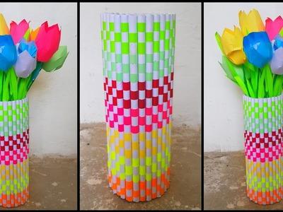 Diy paper flower vase | How to make vase from paper | Diy rainbow paper flower vase