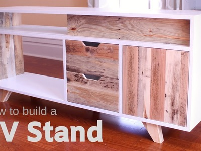 DIY Plywood and Reclaimed Pallet Wood TV Stand. Media Console - How to Make It