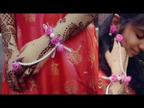 Flower jewellery making | How to make flowers jewellery for Mehndi and haldi at home