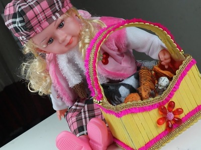 How To Make a Beautiful Doll Basket with Popsicle Stick at Home