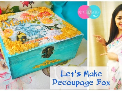 How to make a decoupage box - Painted box - Decoupage wooden box-Decoupage for beginners #decoupage